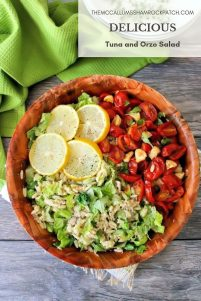 A deliciously healthy and light Mediterranean-inspired Tuna and Orzo Salad with organic veggies, Feta cheese, and a lemon vinaigrette dressing