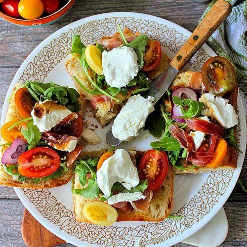 Goat Cheese Tomatoes and Prosciutto on Ciabatta