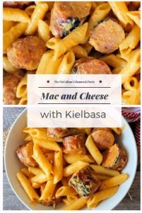 Skillet Mac and Cheese with Kielbasa is super easy comforting pasta dish to make and seriously cheesy. The wonderful flavor of the Polish Kielbasa and cheese takes ordinary weeknight dinner to a whole new level of deliciousness.