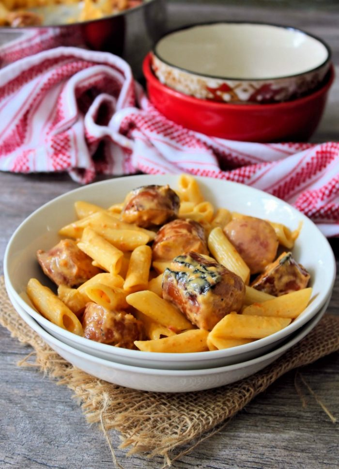 Skillet Mac and Cheese with Kielbasa is super easy comforting pasta dish to make and seriously cheesy. The wonderful flavor of the Polish Kielbasa and cheese takes an ordinary weeknight dinner to a whole new level of deliciousness.
