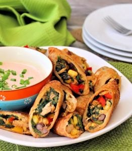 These aren't your ordinary plain Jane eggrolls, folks,these are deliciously flavorfulCrispy Southwestern Egg Rolls, made with chicken, black beans, corn, jalapeño peppers, Colby Jack cheese, red sweet bell peppers, and spinach. Served with a bold ChipotleRanch dipping sauce that you are going to absolutelylove.