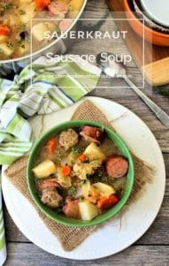 Sauerkraut and Sausage Soup is one of the favorite German-inspired comfort foods in a bowl that sauerkraut lovers enjoy. Everything is cooked in the same pot from start to finish and made with German-Style Sauerkraut imported from Germany, Bratwurst, Polish Sausage, Potatoes, Carrots, and onions in a warm deliciously flavored broth.
