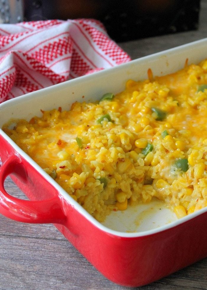Corn and Rice Casserole is super simple to make, yet packed with an amazing flavor bite after delicious bite. Combining just a few ingredients, such as corn, yellow rice, Colby Jack cheese, cream of Celery Soup, and jalapenopeppers, you'll be in and out of the kitchen in no time flat.