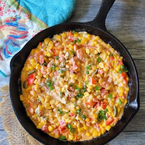 Southern Corn Dip willbecome one of your snaking downfalls, cream cheese, organic sweet corn, sweet red bell peppers, spicy pickled jalapeno peppers, unsalted butter, Ro-Tel tomatoes, and Cajun Spices come together for an Epic Appetizer that can be served on crunchytortilla chips.