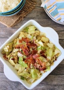 Southern Fried Cabbage is the perfect side dish to accompany Southern-Style dinners. It's Super easy to make, using simple ingredients, such as cabbage, crisp bacon, onions, and is packed with an incredible flavor from the Cajun spices.