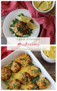 Crab Stuffed Mushrooms are the ultimate flavorful seafood appetizer. Delicious juicy jumbo white mushrooms stuffed to the hilt with seasoned tender lump crab meat, cheese, breadcrumbs, and herbs,