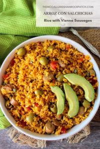 Arroz Con Salchichas, aka Rice with Vienna Sausages, has, for years, been known as comfort food in both Cuban and Puerto Rican households, made distinctly with long grain rice, tomatoes, homemade sofrito, green olives, capers, and Latino spices.