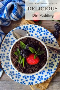 This adorable Dirt Pudding Recipe is a favorite among both kids and adults alike. Layered with chocolate pudding, Oreo cookies, fresh strawberries, juicy blackberries, and gummy worms to make a delicious treat everyone will love at family gatherings, potlucks, or even picnics.