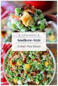 Southern Pea Salad is one of the most simple yet deliciously flavorful salads you'll sink your teeth into this season. Packed with organic green peas, carrots, celery, Colby-Jack Cheese, ham, crisp bacon, hardboiled eggs, crunchy sweet pickles, and red onions dressed in a creamy dressing made from a mayo base.
