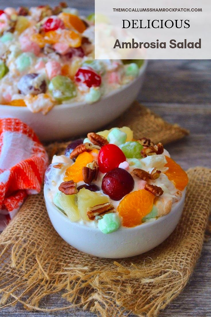 Ambrosia Salad is one of those iconic desserts that the Southern Population thrives on at Picnics, Potlucks, Holidays, and Family Functions. Ambrosia is lovingly Made from sweet pillowy marshmallows, heavy cream, sour cream, coconut flakes, delicious juicy tropical fruits, and toasted pecans.