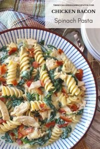 This flavorful hearty Chicken Bacon Spinach Pasta recipe is tossed in a thick and creamy roasted garlic Parmesan sauce. It's a perfect combination of flavors and textures that will have you thinking that your eating at one of your favorite restaurants!