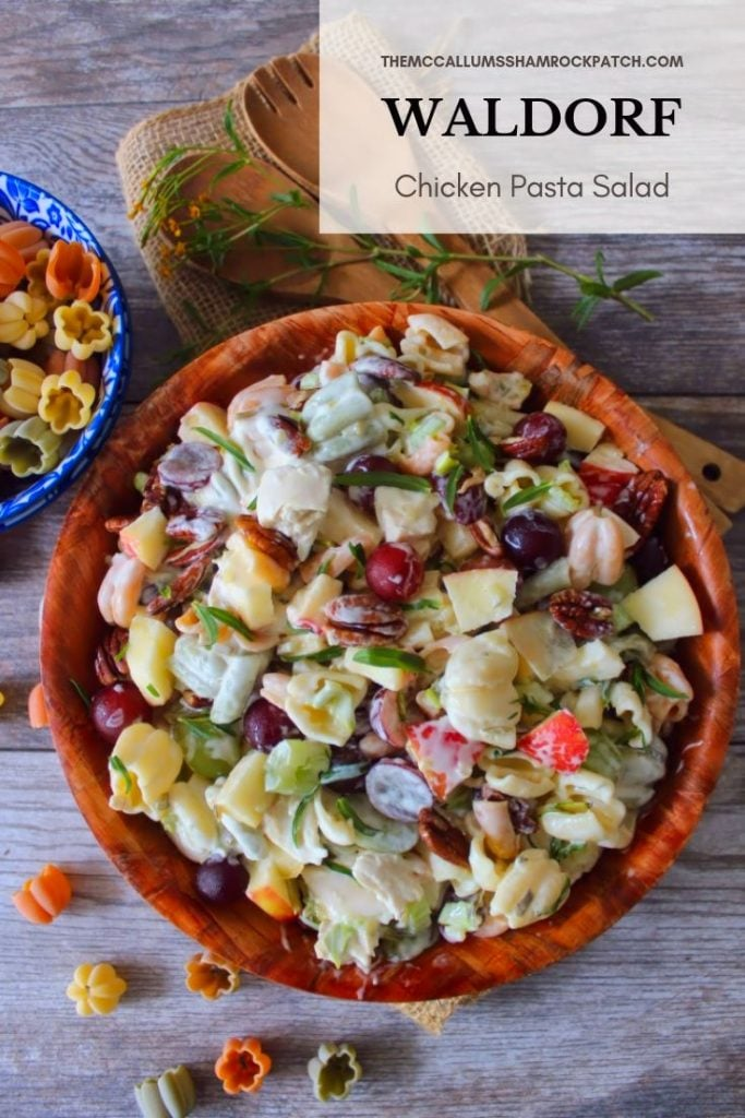 This deliciously sweet-and-savory Waldorf Chicken Pasta salad is the perfect lunch or light dinner entrée and can be used as a hearty side dish. Combining the best of three different worlds, Waldorf Salad, Grilled Chicken, and Tricolor Pasta for an amazingly flavorful recipe that's perfect for any gathering.