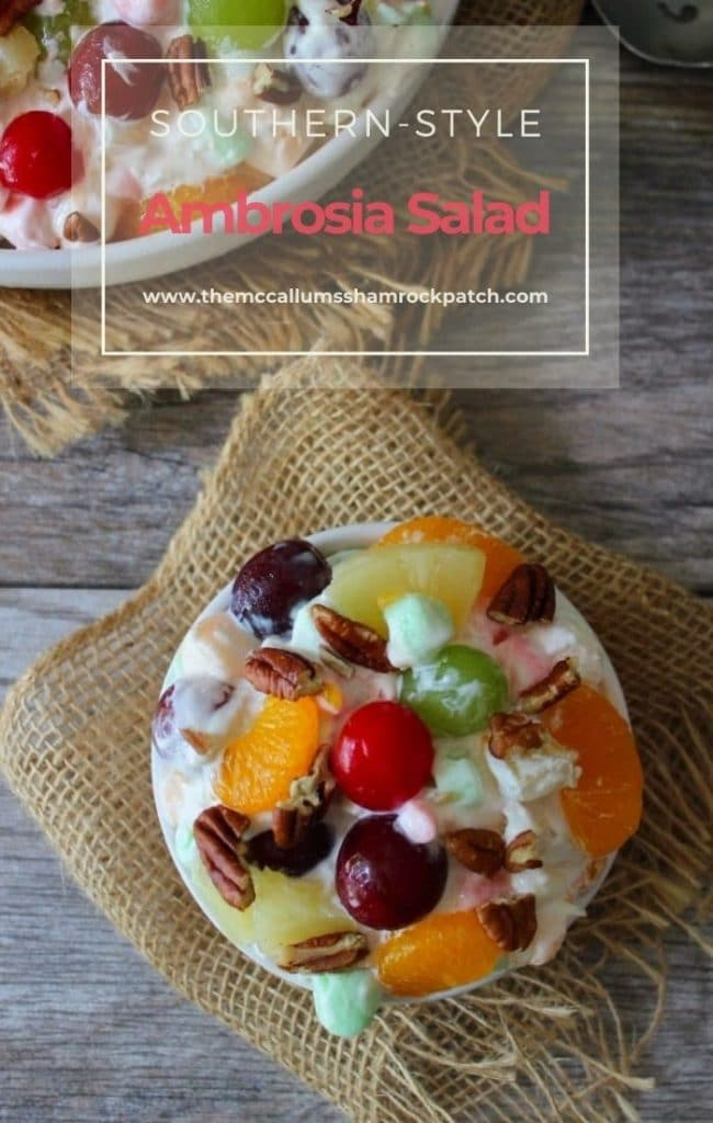 Ambrosia Salad is one of those iconic desserts that the Southern Population thrives on at Picnics, Potlucks, Holidays, and Family Functions. Ambrosia is lovingly Made from sweet, pillowy marshmallows, heavy cream, sour cream, coconut flakes, plump juicy grapes, maraschino cherries, delicious juicy tropical fruits, and toasted pecan