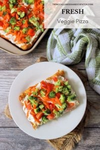 Fresh Veggie Pizza is one of the best super-simple retro recipes to this day, with all of those fabulous textures on top of a soft fluffy crescent roll crust, slathered with cream cheese, herbs, and organic crisp fresh veggies. It's guaranteed to fly off the table in no time flat this season.