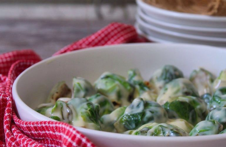 Roasted Brussels Sprouts with Parmesan Cheese Sauce