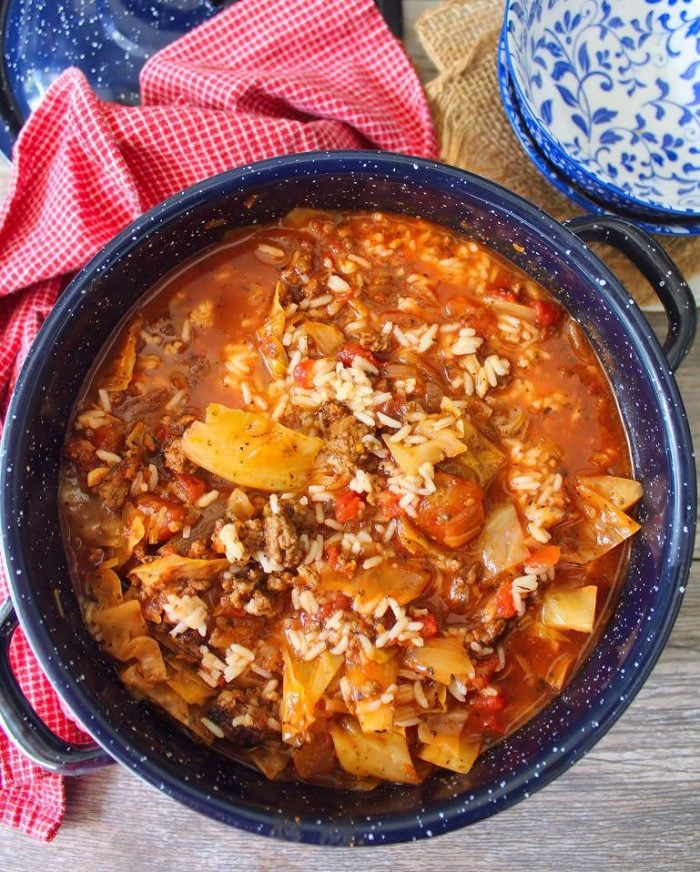 Deliciously filling Stuffed Cabbage Roll Soup has all the wonderful flavors of Classic Stuffed Cabbage Rolls, without all the fuss. It's hearty, beefy, and it's full of flavor.