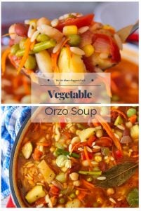 Looking for an easy, healthy and delicious weeknight meal? Then look no further! Your entire family will love this Vegetable Orzo Soup, as a quick and easy healthy weeknight meal. This Vegetable Orzo Soup is a perfect way to make use of your garden-fresh veggies.