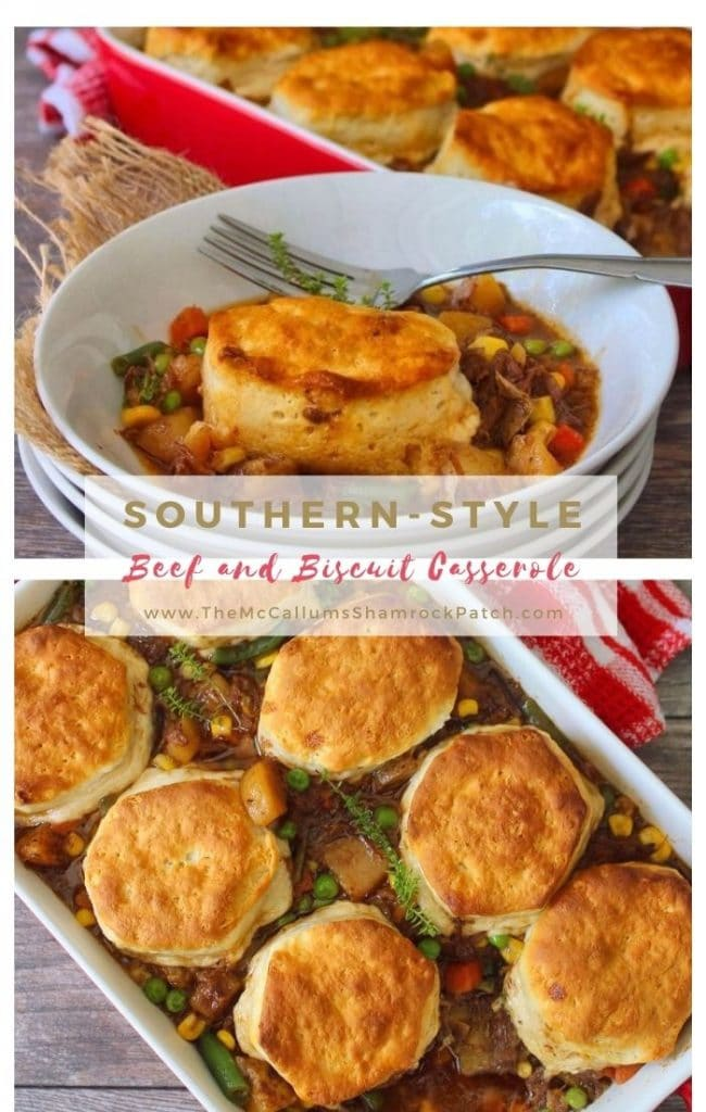 This classic stick-to-your-ribs Beef and Biscuits Casserole is the ideal flavorful meal for a weeknight dinner or busy weekend. Beef, carrots, potatoes, peas, corn, and green beans, topped with deliciously fluffy biscuits come together in a cozy harmony.