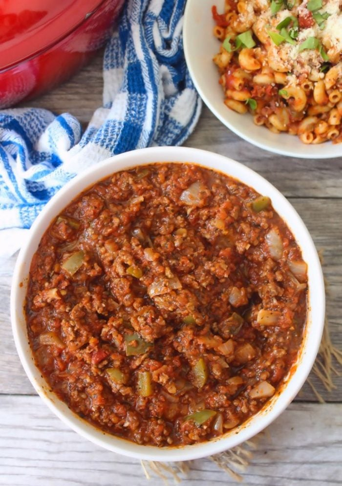 This flavorful, delicious old-fashioned Southern Meat Sauce has been floating around for years; a thick, rich, hearty, and filled to the brim with sweet organic tomatoes, peppers, and onions that lends the perfect layer of flavor to any pasta you choose.