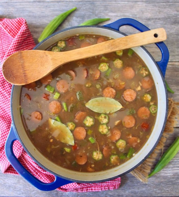 This classic Classic Sausage Chicken and Okra Gumbo is a spin-off of a popular recipe from Paul Prudhomme, the famous New Orleans chef who put Louisiana on the American culinary map. It is a hearty, flavorful, delicious Creole Gumbo that I have included the addition of fresh organic okra to bring it up a notch.