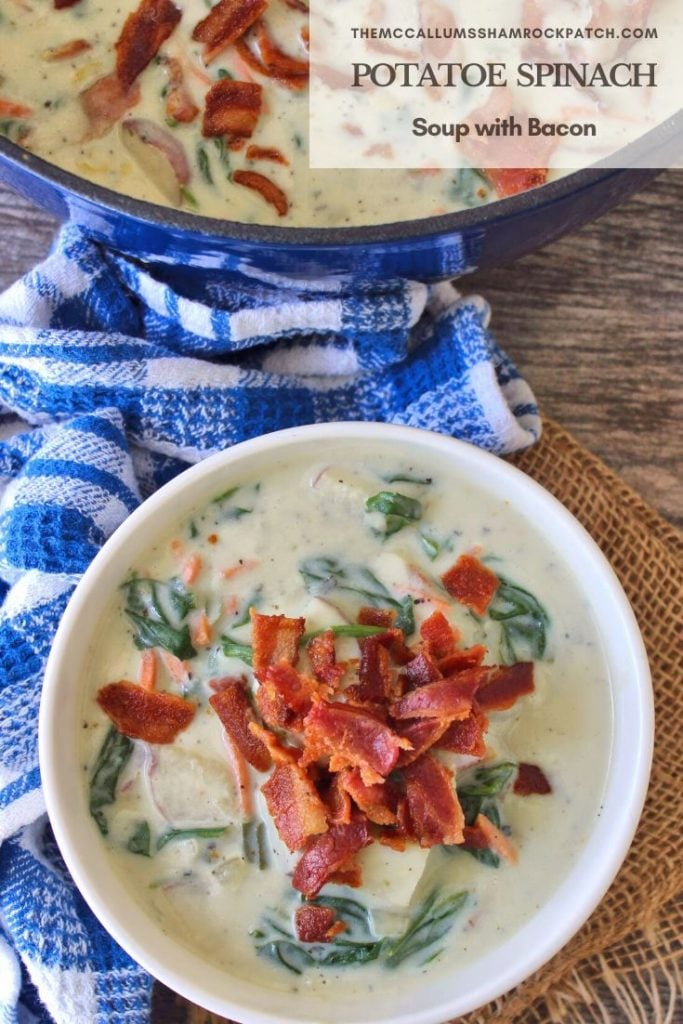 Potato Spinach Bacon Soup is a classic, flavorful belly-warming comfort food recipe at it's finest. It is combining red potatoes, leftover mashed potatoes, fresh spinach, and other veggies with hickory-smoked bacon in a cloud of delicious creaminess.
