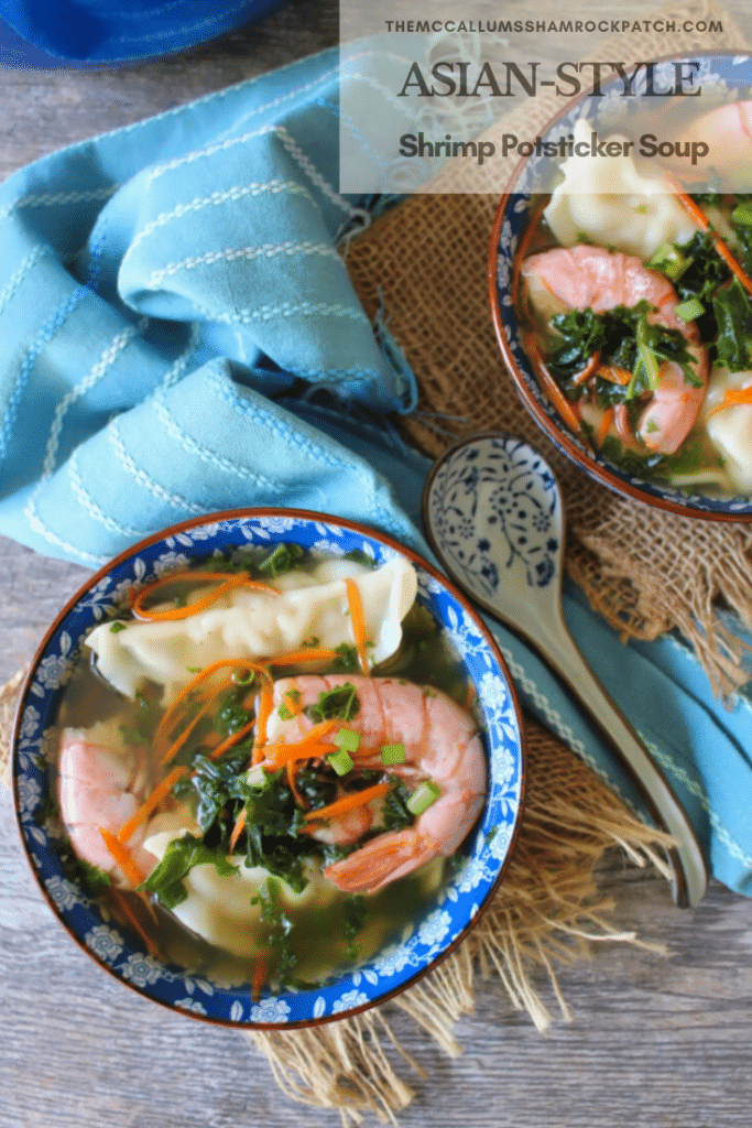 This deliciously flavorful 30-minute Potsticker Soup is an amazing and hearty Asian-style soup full of rich ingredients such as Shrimp Potstickers, decadent jumbo pink shrimp, organic kale, carrots, scallions, and Chinese spices cooked in a delicious homemade shrimp stock.