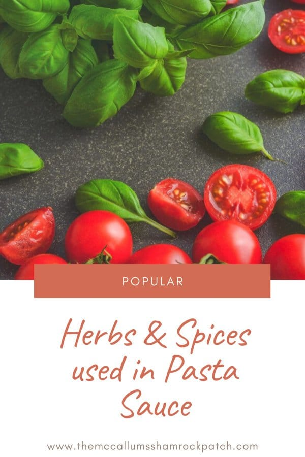Popular herbs and spices used in Pasta Sauce