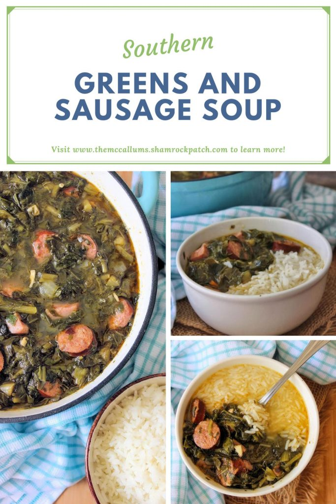 Dig into this Hearty Southern Greens, and Sausage Soup recipe for a portion of deliciously flavorful comfort food at it's finest. Assorted greens, Andouille sausage, smoked sausage, Chaurice sausage served over rice.