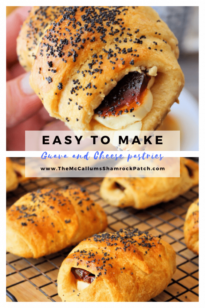 This recipe for Easy Guava and Cheese Pastries is an easy variation of pastelitos de guayaba. Made with a delicious flakey crescent roll pastry, then filled with sweet guava and cream cheese, lightly brushed with an egg wash, and then topped with poppy seeds for extra pizzazz.