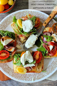 Treat your guests to a delicious flavorful lunch of Goat Cheese Tomatoes and Prosciutto on Ciabatta Bread in a snap! How can you go wrong with wonderful flavors like Goat Cheese, Heirloom vine-ripened tomatoes, Prosciutto, peppery Arugula, fresh basil, garlic, and warm balsamic? It's a little slice of heaven if you ask me.