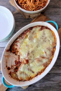 Eggplant Casserole is super easy to make. It's very similar in flavor to Eggplant Parmesan. It is made with fried eggplant, homemade sauce, thinly sliced provolone cheese, and a topping of finely shredded mozzarella. It's great served with pasta for a meatless meal.