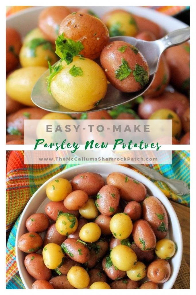 This simple recipe for Classic Parsley New Potatoes get an infusion of chicken broth, butter,  and flat-leaf parsley to make a super easy, minimal-ingredient side dish. It's a perfect side dish to go along with any meal you might think of serving.