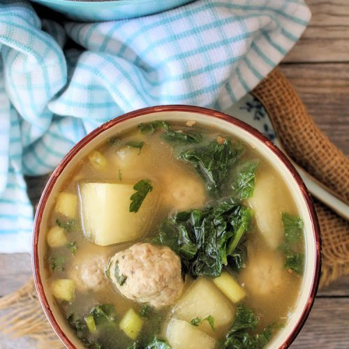 Winter melon soup is a delicately flavored yet warm, comforting dish that is usually served on cooler days. The winter melon is cooked in a rich-tasting chicken broth until tender. The addition of tiny tender homemade pork meatballs and fresh organic kale makes this simple soup taste delicious and hearty. Winter Melon Soup is very simple to prepare and is perfect to accompany a weekday dinner
