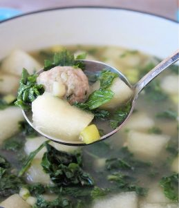 Winter melon soup is a delicately flavored yet warm, comforting dish that is usually served on cooler days. The winter melon is cooked in a rich-tasting chicken broth until tender. The addition of tiny tender homemade pork meatballs and fresh organic kale makes this simple soup taste delicious and hearty. Winter Melon Soup is very simple to prepare and is perfect to accompany a weekday dinner.