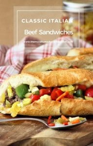 This delicious and flavorful Classic Italian beef sandwich comprises of juicy shredded roast beef, fried sweet bell peppers, a spicy giardiniera, and provolone on a crusty bread roll.