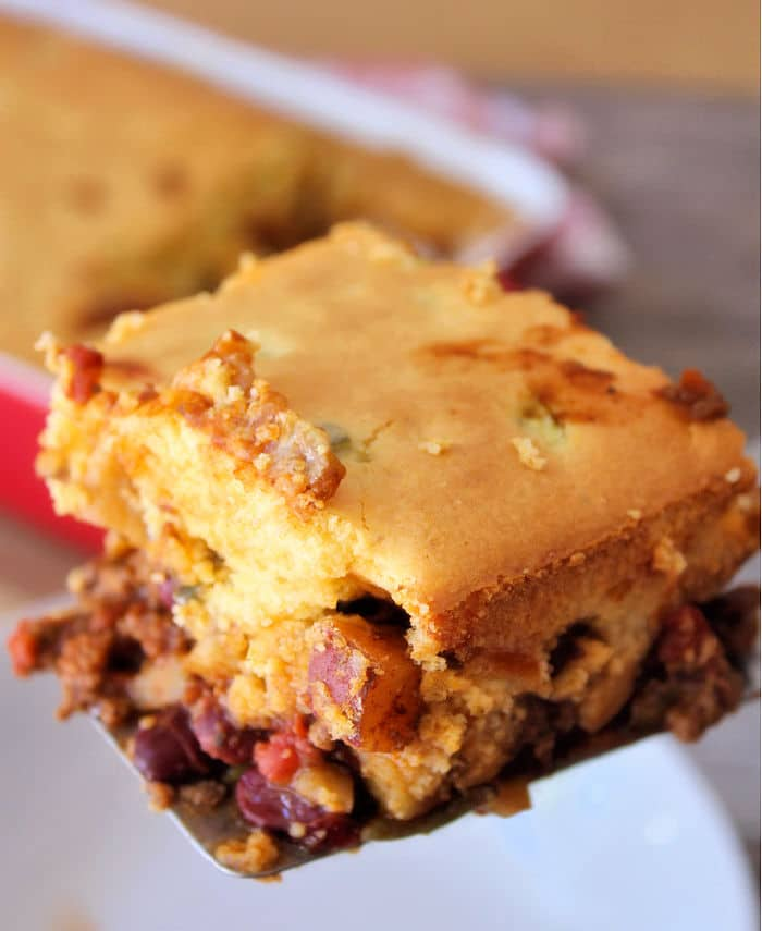 A delicious and flavorful chili with lean ground beef covered a layer of melted Colby-Jack cheese and topped with cornbread. This Southern Chili Cornbread Casserole is the perfect meal to serve at your next gathering, or it makes for a delicious meal any night of the week.
