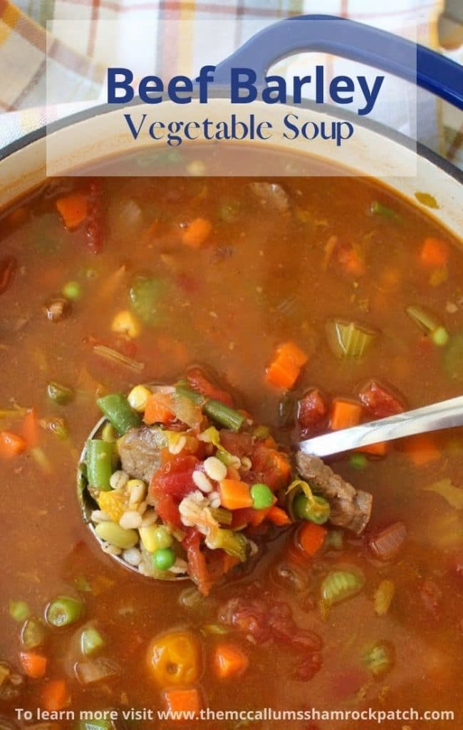 Beef Barley Vegetable Soup is a combination of tender beef, organic vegetables, and barley, all simmered together until perfectly cooked. Beef Barley Vegetable Soup is a hearty dinner option that's so easy to make and freezer friendly.